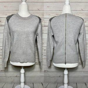 J. Crew Jeweled Shoulder Zip Back Wool Sweater XS